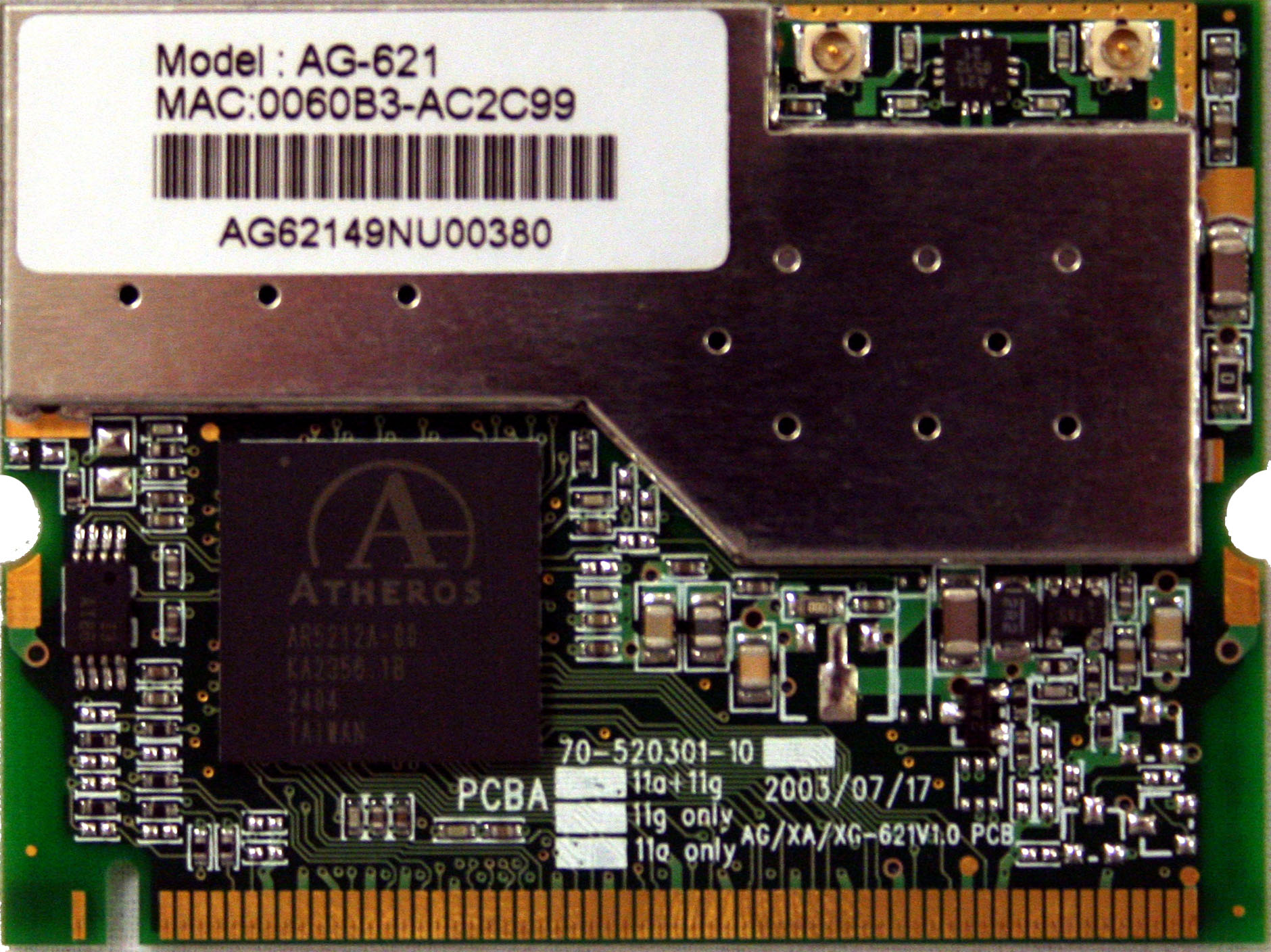 Atheros 5002 mini-PCI card